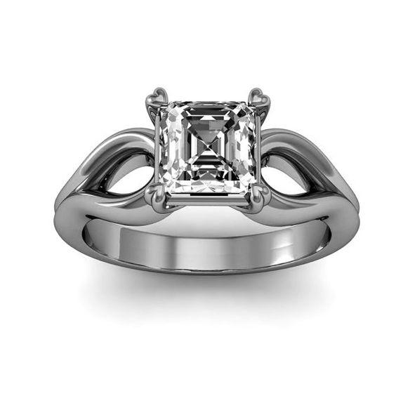 1/2 Carat 10K White Gold Asscher-Cut Engagement by WorldJewels