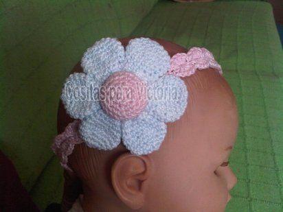 Como hacer diademas para bebés a crochet , Imagui