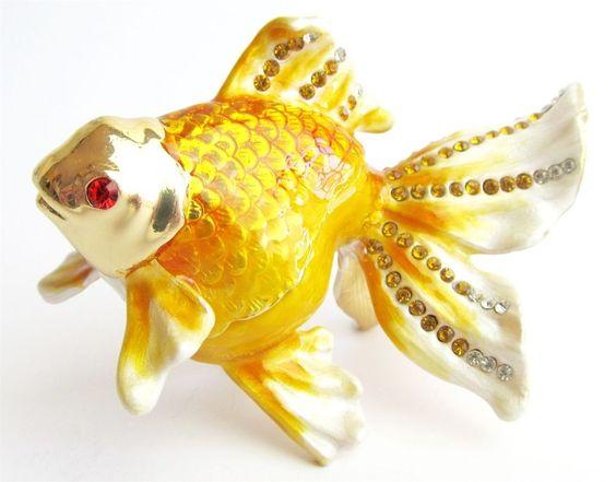 """Goldfish"" Beautiful Jewelled & Enamelled Fish Trinket Box or Figurine #TrinketBox"