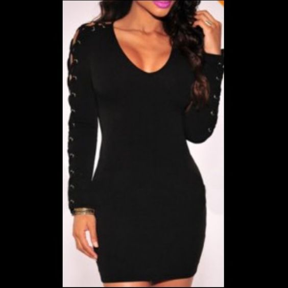 Sexy Plunging Collar Long Sleeve Hollow Out Dress Brand new. You need to lace up the sleeves it comes unlaced. Size large. Sexy club dress or would even go nice for Halloween as a sexy vampire Dresses Mini