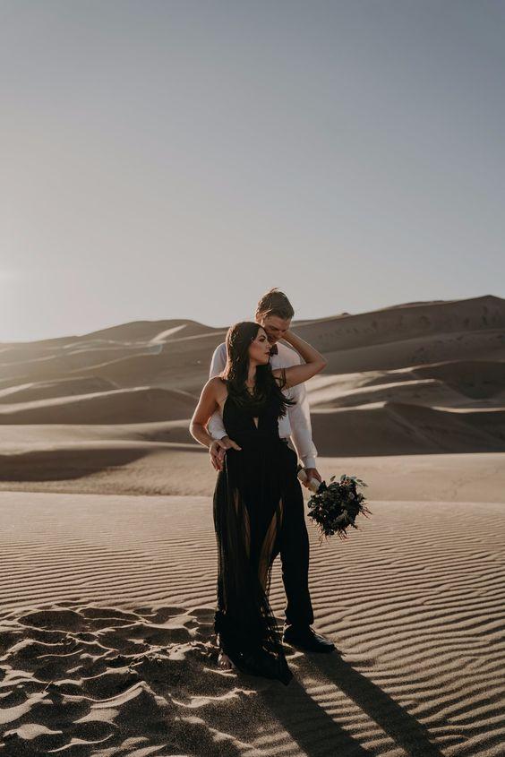 moody desert themed engagement shoot