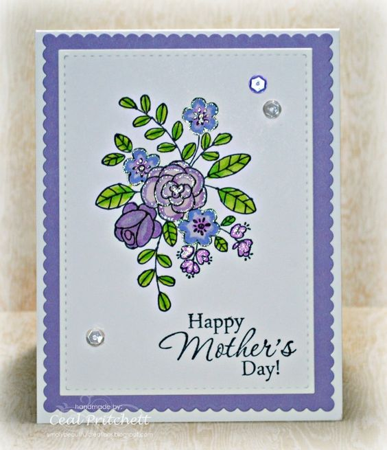 handmade Mother's Day card from Simply Beautiful: Purple is For... ...lovely posy in pretty colors with a bit of glitter glue ... lots of lavender ... Stampin'Up!