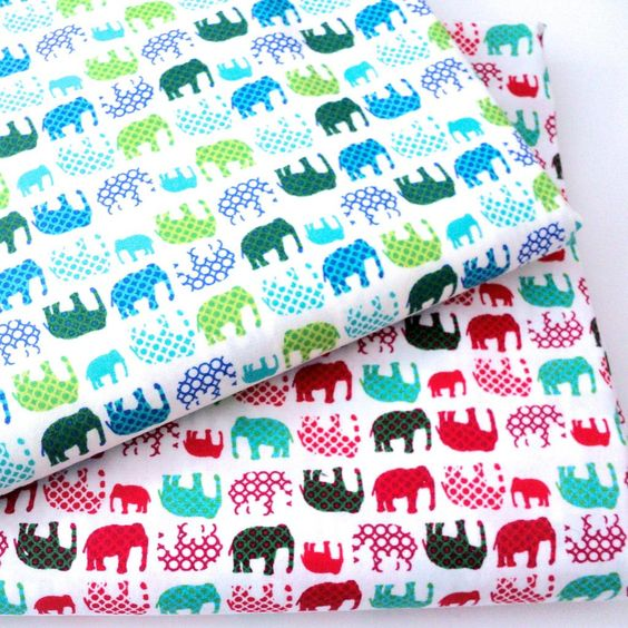 Details about dotty elephants 100 cotton fabric for Cotton childrens fabric
