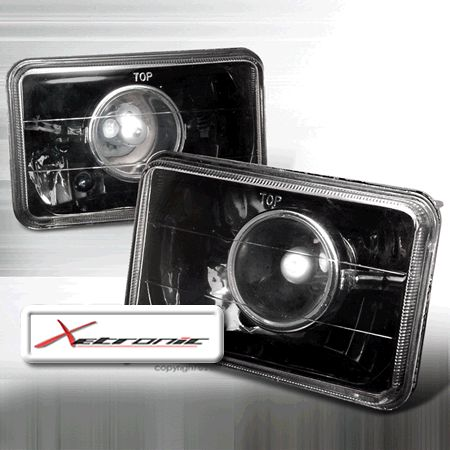 Projector Glass Headlights for H4656,H4666,H4668,H6545,H6545BL,HP6545 Seal Beam Conversion - Black (pair)