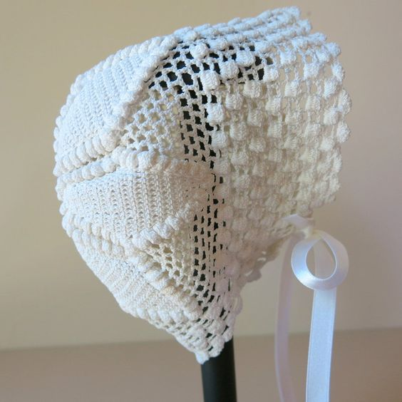 Victorian Ivory Crochet Lace Baby Bonnet 720a by ShurleyShirley on Etsy https://www.etsy.com/listing/246863544/victorian-ivory-crochet-lace-baby-bonnet