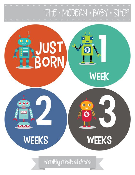 Monthly Baby Onesie Stickers - Boy, Baby boy, Robot, Baby Shower Gift. $3.00, via Etsy.