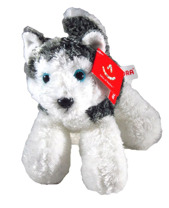 "8"" MUSH This mini flopsie is a cute husky with white and grey fur with beautiful bluse eyes."