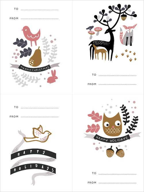 Owl Christmas Gift tags:
