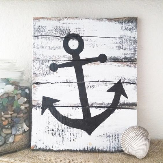 Rustic Nautical Pallet Board Art - These are 5 cute handmade nautical pieces of art, made from pallet boards and ready for your home!