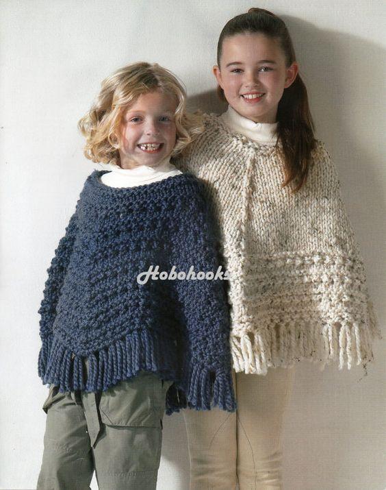 Girls Knitting pattern Girls Ponchos Knitting Pattern Super Chunky Ponchos…