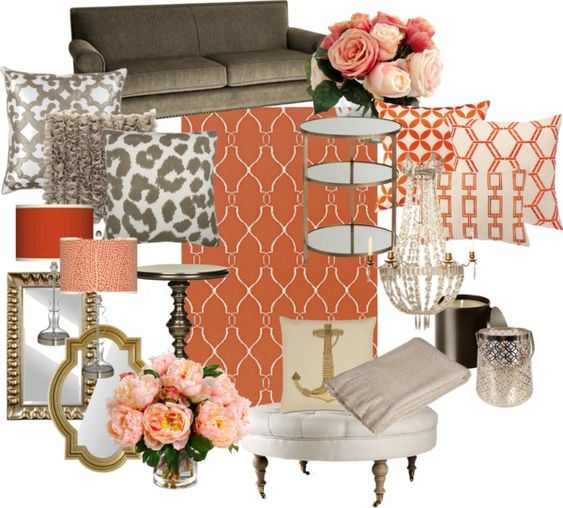 "Gray And Teal Living Room By Jurzychic On Polyvore: ""Coral And Gold Living Room"" By Chloeg01 On Polyvore. Oooo"