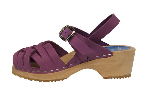 Bambi Purple Clog - Herringbone inspired design, open toe sandals for children. Available in three soft nubuck colors. Secured strap around ankle for support all day.    Product Code 2102005. Order here: http://store.capeclogs.com/BambiPurple-4.aspx.
