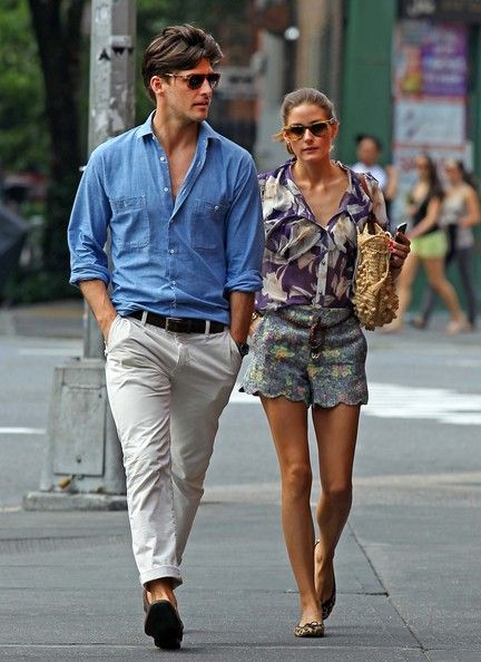 Olivia Palermo and Johannes Huebl stroll through the West Village. Such a stylish couple!: