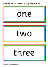 Number words zero to fifty flash cards (SB5610) - SparkleBox