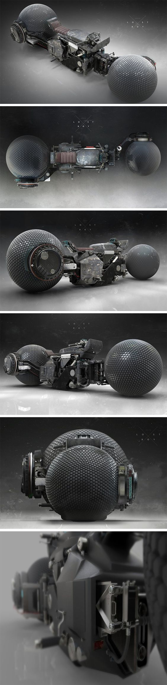 As featured in the sci-fi film LOSTBOY, this mean-looking motorcycle concept by designer Patrick A Razo is part steampunk and part ultra-futurism! At the center of its S-shaped frame, a sort of ragbag jumble of mechanical parts, seemingly chopped from other machines. On either end, spherical wheels with gecko-grip for precision maneuvering in any direction. This low-slung, no-frills bad boy isn't for the faint of heart!