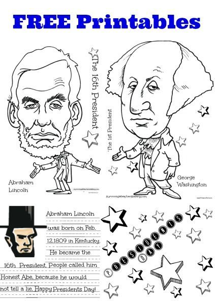FREE President Lincoln Washington Coloring Sheet Handwriting
