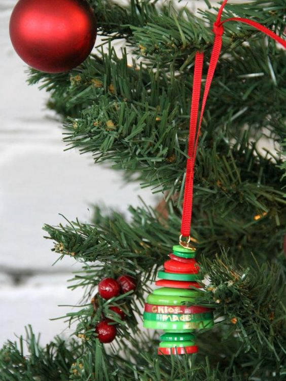 Button Christmas Tree Ornament Instructions : Trees crafts and christmas on