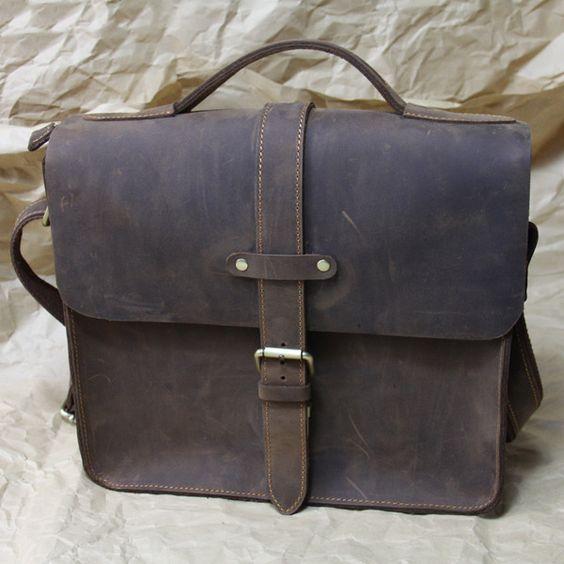 Vintage Handmade Crazy Horse Leather Messenger Bag / Satchel