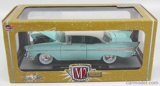 M2-MACHINES 40300 Skala: 1/24  CHEVROLET BEL AIR HARD-TOP 1957 LIGHT GREEN WHITE