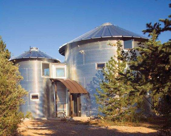 Two grain bins create this energy-efficient home: