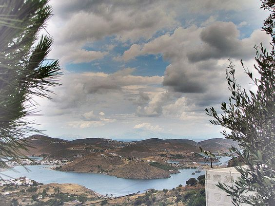Patmos on a rare cloudy day in summer, June 2009