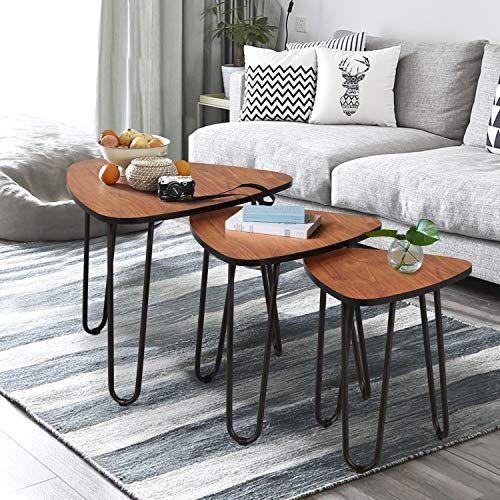 Vecelo Lot De 3 Tables Basse Gigognes Bois Industriel Table Dappoint A Cafe Pied En Acier Pour Le Salon La Ch Table Basse Salon Mobilier De Salon Table Moderne
