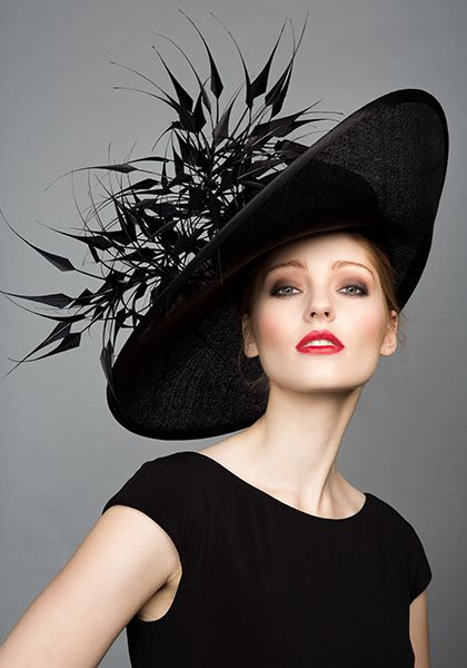 Rachel Trevor Morgan Millinery S/S 2015, R1599 Black fine straw side sweep with black claws: