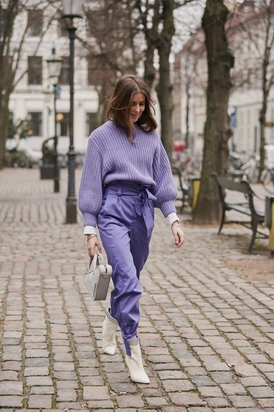 chic purple monochrome look