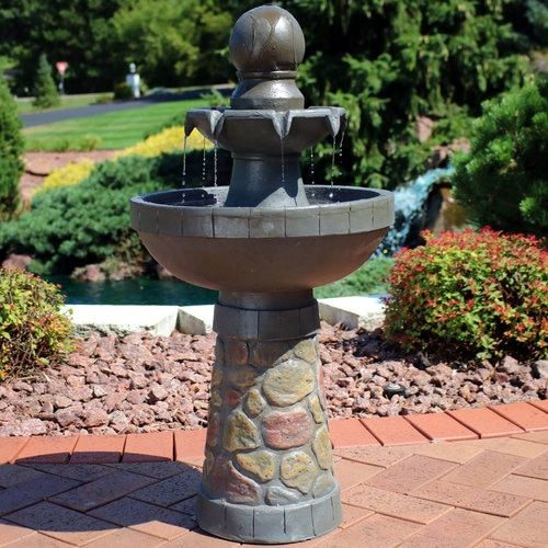 2 Tier Cobblestone Look Outdoor Water Fountain With Led Rope Light With Images Water Fountains Outdoor Water Fountain Design Fountains Outdoor