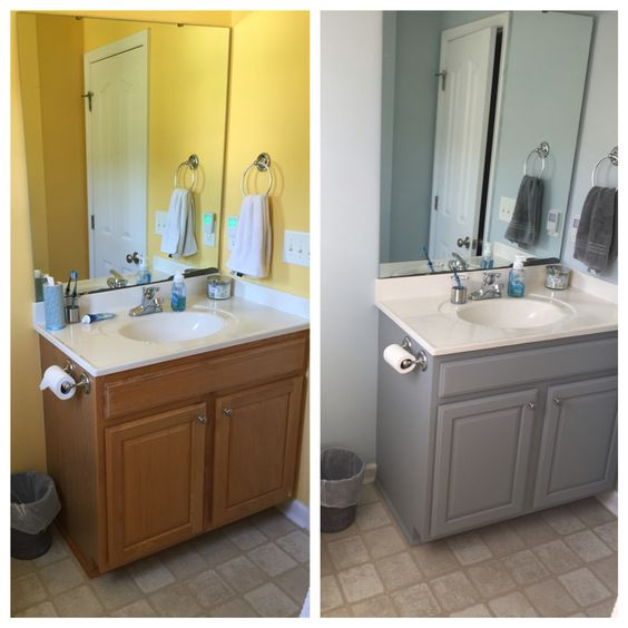 before and after bathroom cabinet valspar chalky paint in woolen stockings walls sherwin williams crisp blue chalk paint pinterest chalky paint