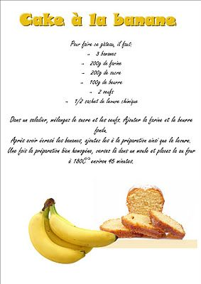 La maternelle de laur ne le cake la banane cuisine sucr e pinterest g teaux - Gateau a la banane sans oeuf ...