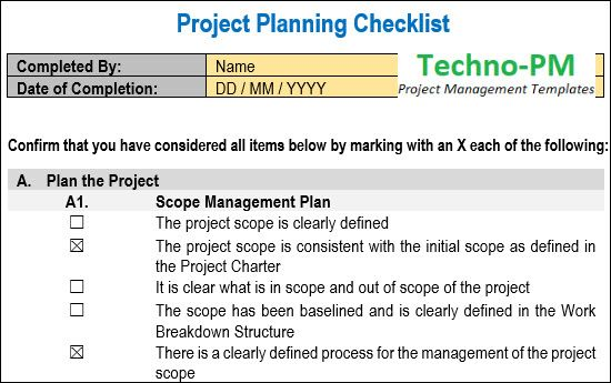 Project Planning Checklist Project Management Templates Project