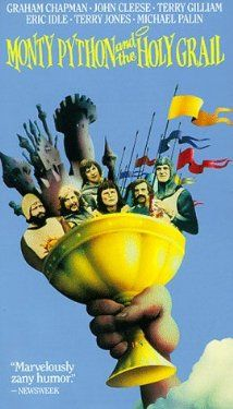 Monty Python and the Holy Grail (1975).  King Arthur and his knights embark on a low-budget search for the Grail, encountering many very silly obstacles.   Directors: Terry Gilliam, Terry Jones