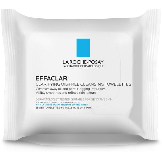 La Roche-Posay Effaclar Clarifying Oil-Free Cleansing Towelettes for Oily Skin, Face Wipes -25ct