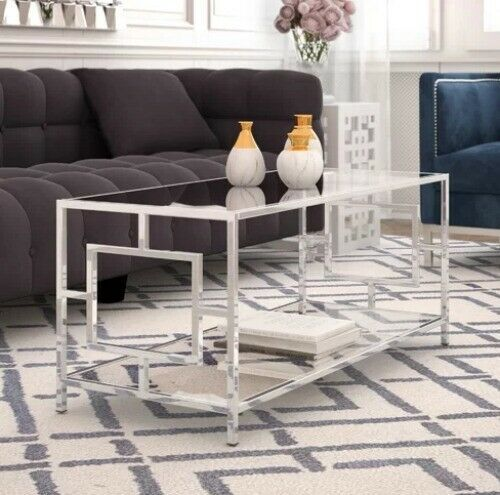 Chrome Coffee Table Glass Top Modern Contemporary Glam Cocktail Living Room New Tinysham With Images Glam Living Room Furniture Modern Furniture Living Room Coffee Table