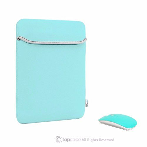 "nice TOP CASE - Bundle Deal Universal 11-Inch Carrying Sleeve Bag and USB Optical Wireless Mouse for All 11"" Apple Macbook / Chromebook / Microsoft Surface Pro / Laptop and Notebook - Hot Blue / Turquoise"