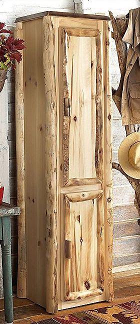 Rustic log home furniture aspen linen closet log homes for Aspen logs for decoration