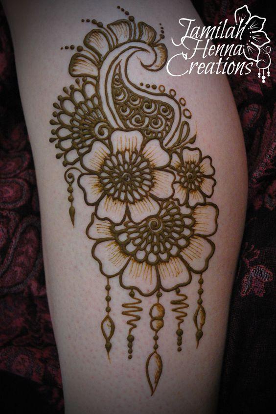 Mehndi Leg Tattoos : Flower paisley leg henna jamilahhennacreations