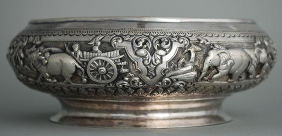 Antique Burma India Silver Bowl
