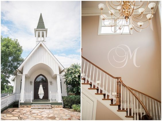 chapel with wedding dress on doors and staircase with monograph on wall at whitestone inn