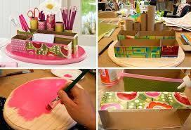 organizador de escritorio reciclando madera y cartón