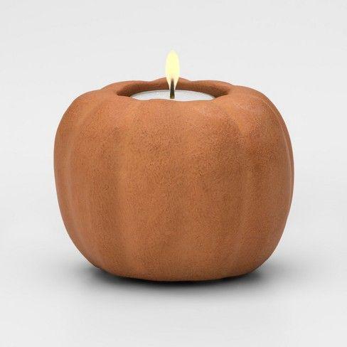 Candle Holder Pumpkin Orange Threshold Target Candle Holders Pumpkin Tea Lights Pumpkin Candle Holder