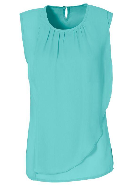 Blusa verde encomendar agora na loja on-line bonprix.de  R$ 79,90 a partir de Blusa de chiffon, sem mangas, com babado na frente e botãozinho na nuca. ...