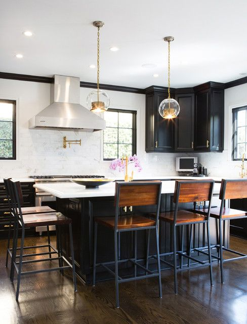 Restoration Hardware Bar Stools Kitchen Transitional With Black Cabinets Black Kitchen Island Chai White Kitchen Bar Stools Black Kitchen Island Kitchen Stools