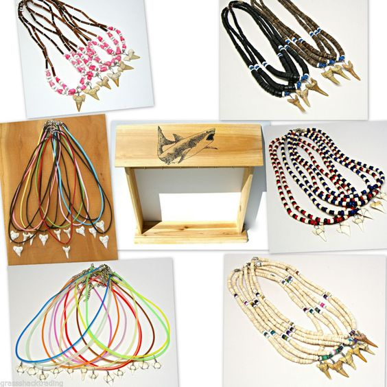 WHOLESALE 72 Shark Tooth Necklaces FREE Wood Counter Display Sharks Teeth ST-2 #GrassShackTrading
