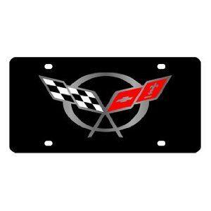 Chevrolet Corvette C5 Flags License Plate on Black Steel