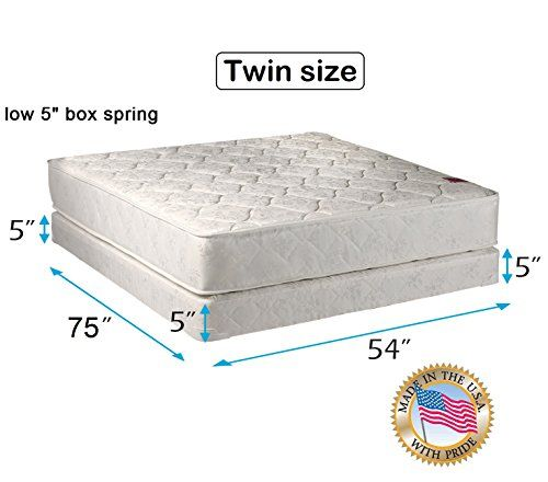 Legacy 2 Sided Twin Mattress And Low Profile Box Spring Set With Mattress Cover Protector Included Fully Assembled Good For Y With Images Box Spring Spring Set Mattress