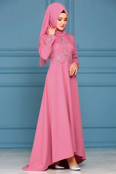 Modaselvim Abiye Tas Ve Incili Peplum Abiye 8798w153 Gul Kurusu Giyim The Dress Elbise