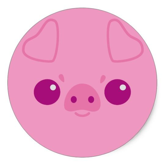 Cute Pink Pig Face Classic Round Sticker Zazzle Com Pig Face Drawing Pig Face Cute Pink