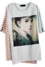 Light Green Short Sleeve Polka Dot Hepburn Print T-Shirt $28.23 #SheInside